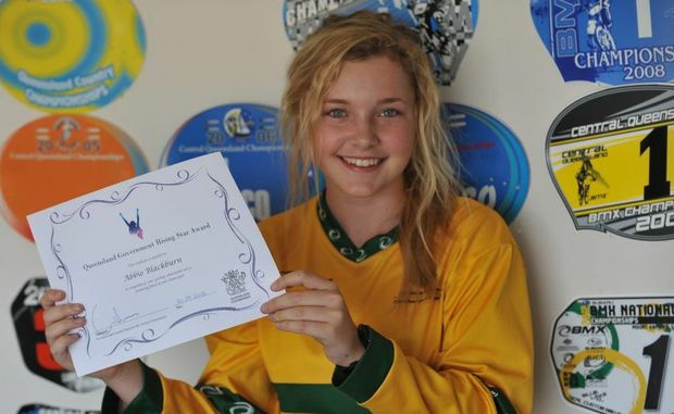 RISING STAR: Abbie Blackburn with her Queensland Government Rising Star Award. Photo: Mike Knott / NewsMail