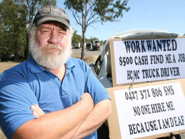 Brian Neill is has taken his job seeking to the streets in search of a truck driving job. Photo: Chris Ison / The Morning Bulletin