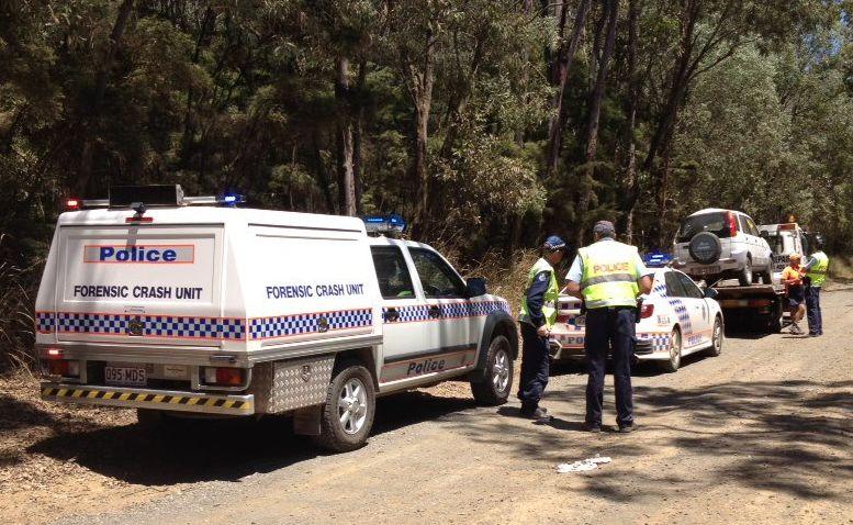 The forensic crash unit on the scene of a single-vehicle crash on Beelbi Creek Rd between Burrum and Toogoom.