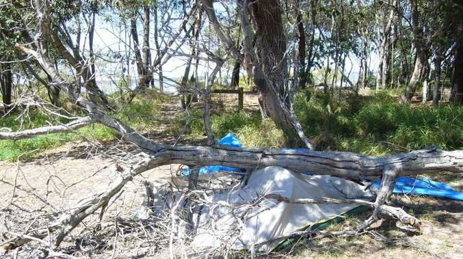 Barry Colhoun had a lucky escape when a tree flattened his tent at Inskip Point.