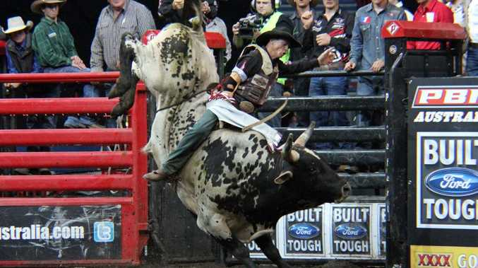 Jock Connelly rides Warchief. The Tuff Bullbars Touring Pro Series bull riders event is being held in Toowoomba on October 20. Photo Contributed