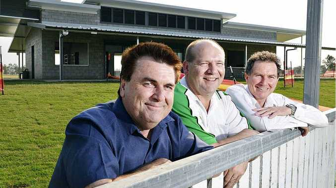 HOWZAT: Cr David Pahlke, Peter Leschke and Cr David Morrison admire the view from the new clubhouse at the Ivor Marsden Sports Complex.