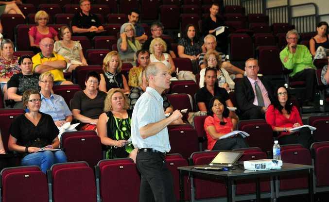 Stellar managing director Ian Morris addresses his audience of jobseekers at The J in Noosa.