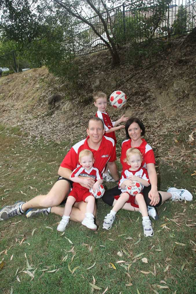 New Little Kickers franchisees Nathan and Tracey Cobb with their children Noah, 5, Luca, 3 and Georgie, 2.