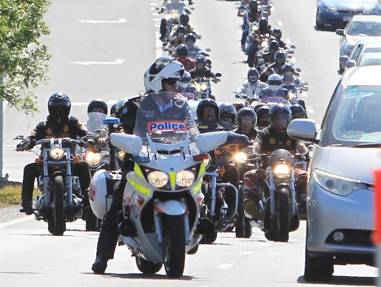 The Bandidos Motorcycle Gang arrive at Caloundra and are welcomed by a strong show of Police. Photo: Cade Mooney / Sunshine Coast Daily
