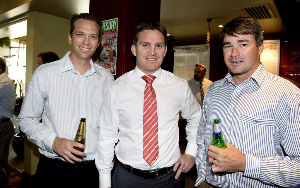 ( from left ) Warrick Bignell, Tim Horan and Andrew Innes. Tim Horan speaking at Charity luncheon at Fire and Ice . Photo Nev Madsen / The Chronicle