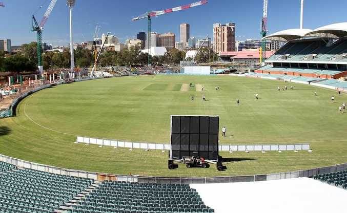 A general view shows construction at the Adelaide Oval before day one of the Sheffield Shield match between the South Australian Redbacks and the Tasmanian Tigers on October 9, 2012.