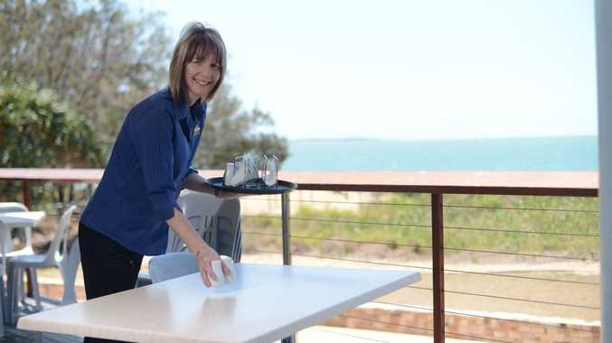 Marisa Kent from Lilac Lillies sets up at the Tannum Sands Surf Club to serve lunch and coffee.