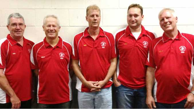 LOYALTY COUNTS: Long-serving Norths players (from left) Ken Suthers, Darrell Bell, Adrian Harding, Steve Profke and Craig Harding.