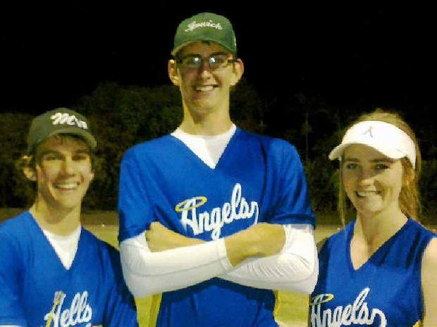Linda Parry with Josh Del Simon, Mason Pollock and Sarah Porter who will play representative softball.