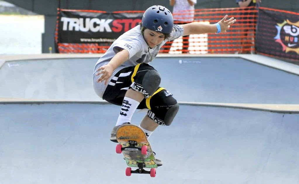 FLYING HIGH: David McCallum of Ewingsdale in the under 14s heats of the Ballina Fair Go skate competition at the Missingham Park skate park.