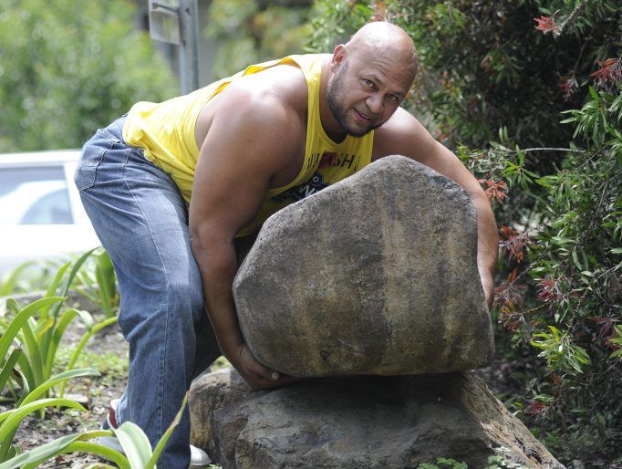 Australia's strongest man Derek Boyer visited the LCC Blakebrook Quarry to choose a new rock for his world record attempt in January. Photo Cathy Adams / The Northern Star