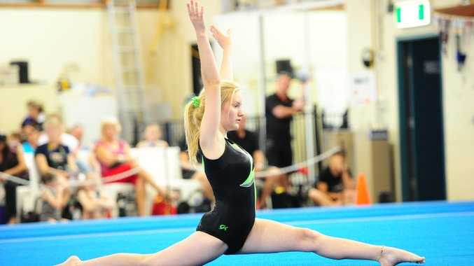 Kianna Brown competes at the Gladstone Invitational hosted by Gladstone Gymnastics Club.