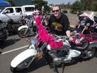 Born to be wild bikers don pink for breast cancer ride