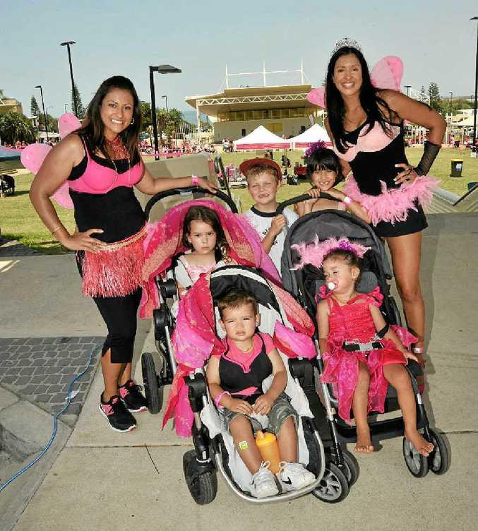 The Pink Pram Parade record attempt at Kings Beach.