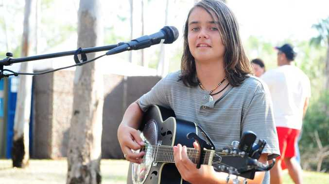 Jack Blandford won the inaugural busking competition at the Bechtel Community Day on Sunday.