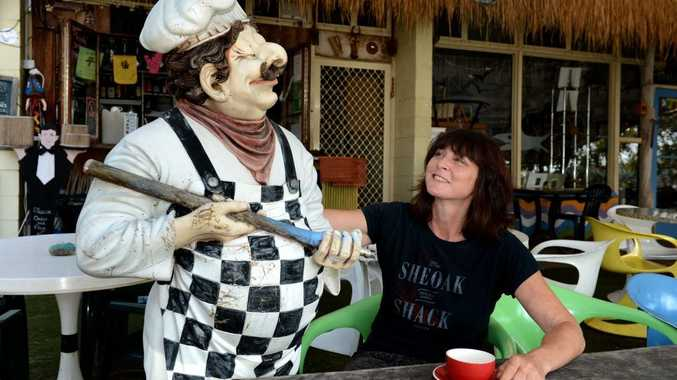 Andrea McKay is happy to happy Luigi, the French chef mascot, back at the Sheoak Shack.