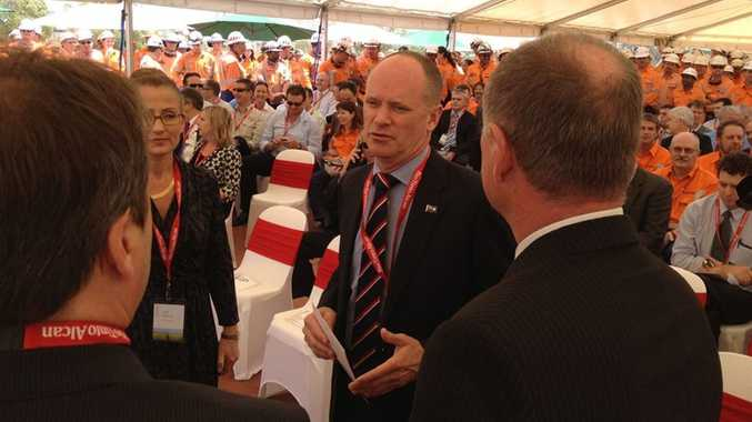 Campbell Newman at the launch of Rio Tinto's Yarwun 2 facility in Gladstone.