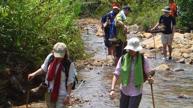 Lindisfarne students making their way through the jungles of Borneo.