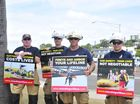 Queensland Fire and Rescue Service Gladstone firefighters Harry Tattersall, Justin Corry, Mark Erridge and Josh Harrison protested outside the GAPDL October Enterprise Luncheon yesterday.
