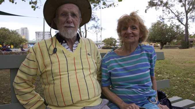 Dawn Quinlan and John Denny sitting in the Goodwin park, Coolangatta. Photo Leilani Gaze