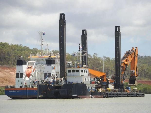 Dredge boats in Gladstone Harbour.