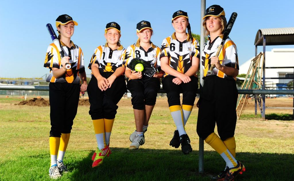 Gladstone girls who played in the softball state championships are (from left) Georgia Camman, 12, Chelsea Fanning, 11, Chyanne Downing, 11, Chloe Hathaway, 12, and Lilli Adnum, 12.