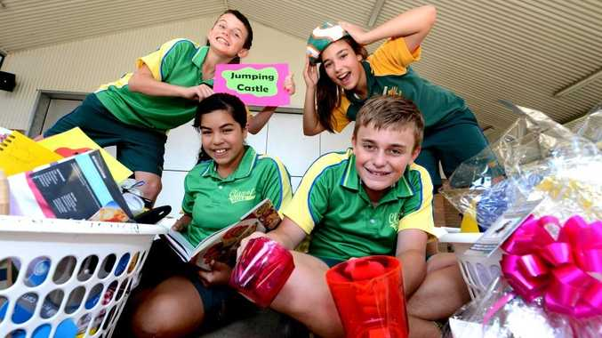 L to R front school captains Zelia Varudo and Alex Summers. Back L to R Wil Dobson and Kayla Palmer. Cudgen primary school. School Fete. Photo: John Gass / Daily News