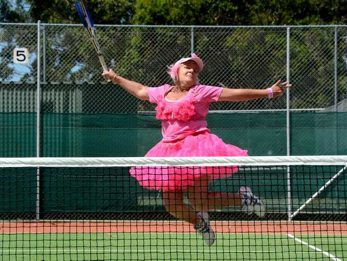 Jan Naday gets into the spirit of pink day.