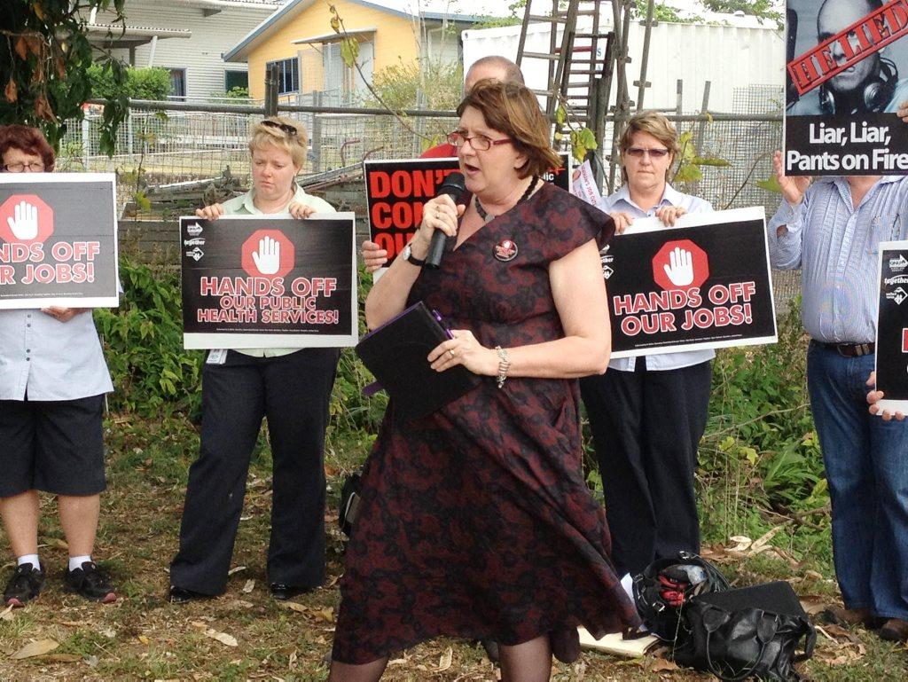 Image for sale: Qld Nurses Union Secretary Beth Mohle adresses Nurses at yesterdays rally outside the Mackay Base Hospital. Photo Dominic Geiger / Daily Mercury