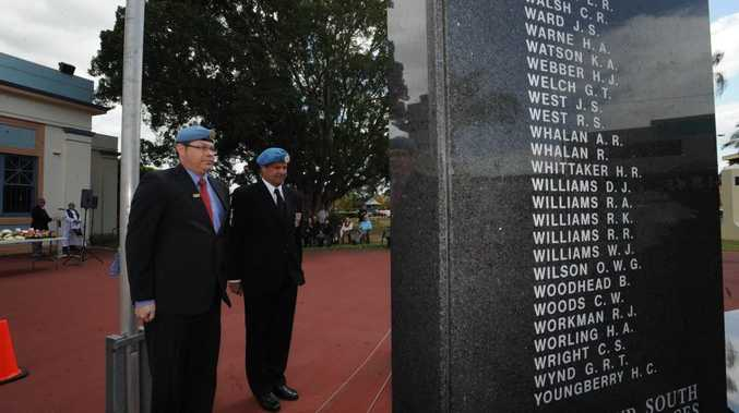 Graham Bruton and Ret Major Andrew Johnstone attend a special service at the Lismore Cenotaph to remember UN soldiers across the world. Photo Marc Stapelberg / The Northern Star