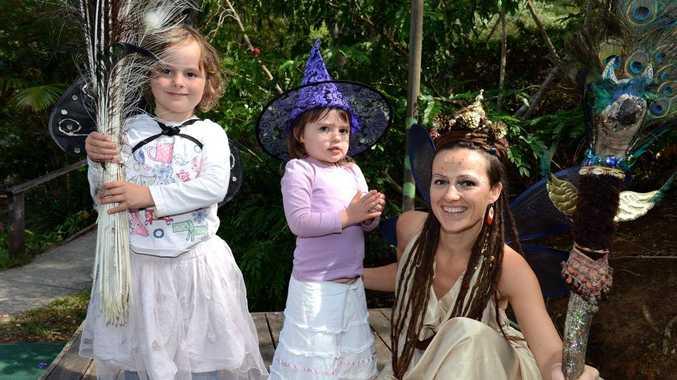 Halloween at Mt Warning pre-school. L to R Gabi Wright, Ayla Wollumbin, Maya Krasna. Photo: John Gass / Daily News