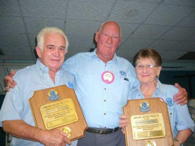 The late treasurer Russ Meurant, President Duncan MacLennan and Secretary Marion McMurray receiving the Melvin Jones Fellow Award by our President, January 2012.