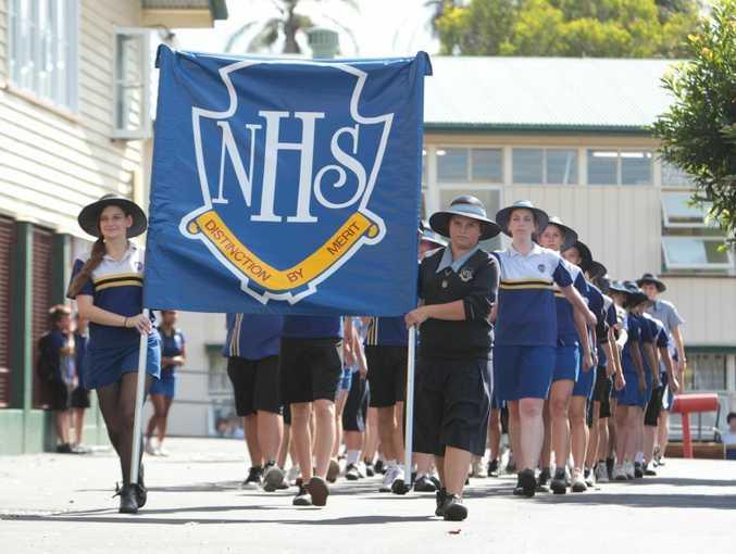 Nambour State High School Anzac Contingent rehersal.