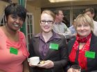 Enjoying a cuppa at the conference are (from left) Sharon Samuel, Bethany van Hameren and Jackie Mergard.