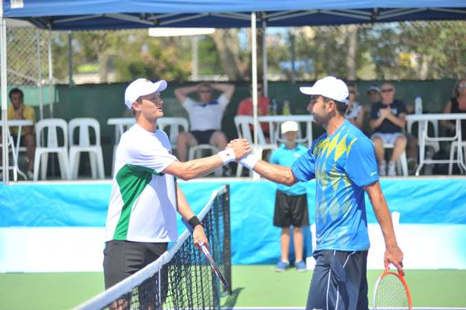 Greg Jones and Marinko Matosevic in the final of the Caloundra International in February.