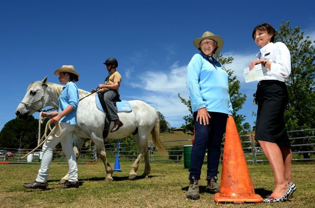 L to R Ziggy the horse with Jarryd Heyning riding. Melissa Wells, Penny Baldwin and Debbie Smith. Riding for the disabled. Photo: John Gass / Daily News