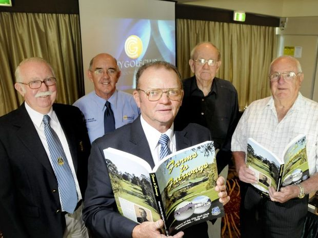 City Golf Club president Ed Britnell (front) with (from left) author Bob Argus, editor Col Muller and club life members Cyril Pickering and John Cameron at today's Farms To Fairways book launch.