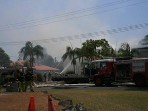 Firefighters battle a blaze at Byron Bay's Arts and Industry Estate. Oct 26 2012