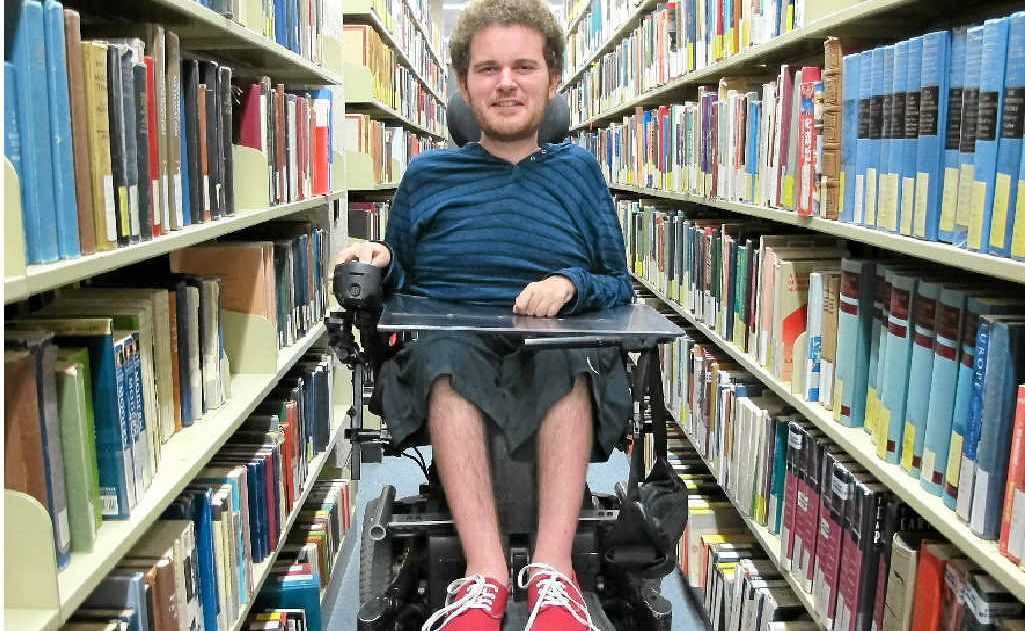 Tristram Peters, 22, hopes a National Disability Insurance Scheme will provide him with personal care and transport to get to and from his studies at the University of Queensland.