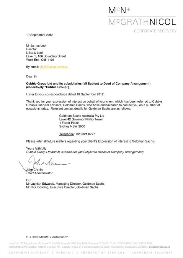 OFFER REFERRAL: In this September 19 letter, McGrathNicol's John Cronin refers the solicitor representing the Australian bidders to Goldman Sachs.