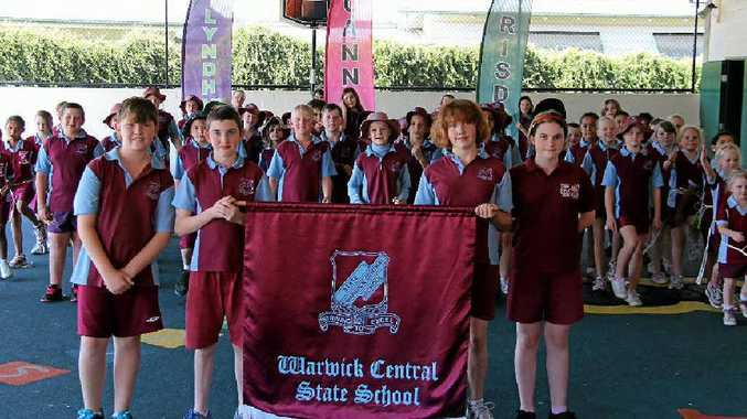 Central State School students are looking forward to marching in the street parade tomorrow. From left: Brodie Fox, Jaydan Clark, Tess King and Dakota Hall.