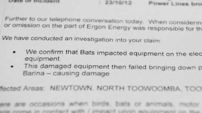 A letter from Ergon Energy stating that Sherrin Mann had her car scratched and damaged when a bat caused a electrical power line to fall.