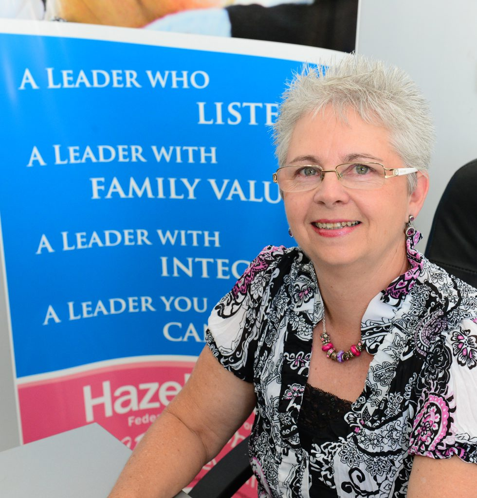 Hazel Alley - Family First candidate for Capricornia in her Rockhampton office.