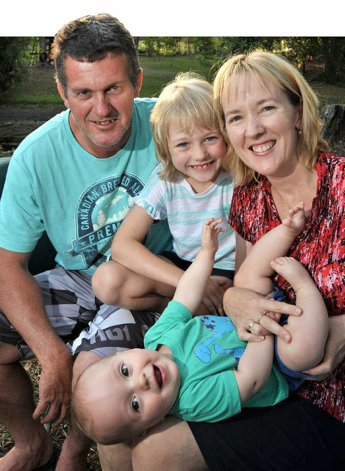 AGE NO WORRY: Rob and Vicki Howard with their children Amy, 7, and Luke, eight months.