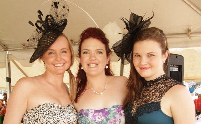 Sera Ball, Camilla Meyers and Jacinta Cook from Hervey Bay looking stylish at a recent race day at Torbanlea.