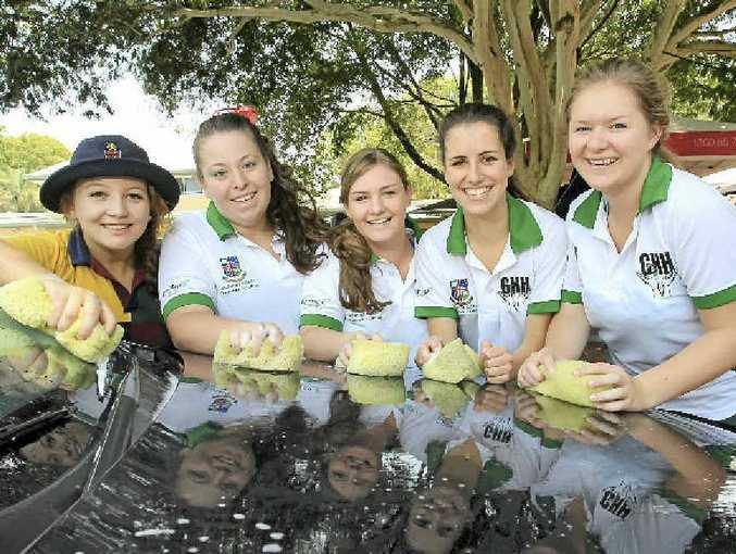 At the Sunshine Coast Grammar School car wash at Buderim Memorial Hall (from left) Charlotte Hartshorne, Caitlin Cullen, Georgia Mulveney, Elena Pleass and Lisa Elliott.