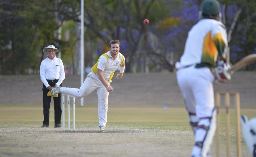 The Glen's Michael Matz bowls in the BITS vs The Glen first grade match at Boyne Island.