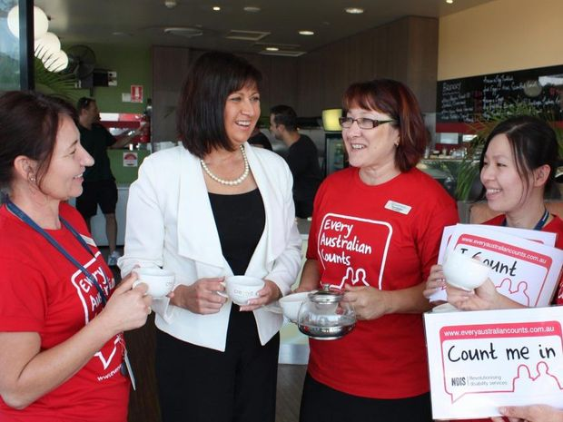 Richmond MP Justine Elliot shares a cuppa with care Connect workers.