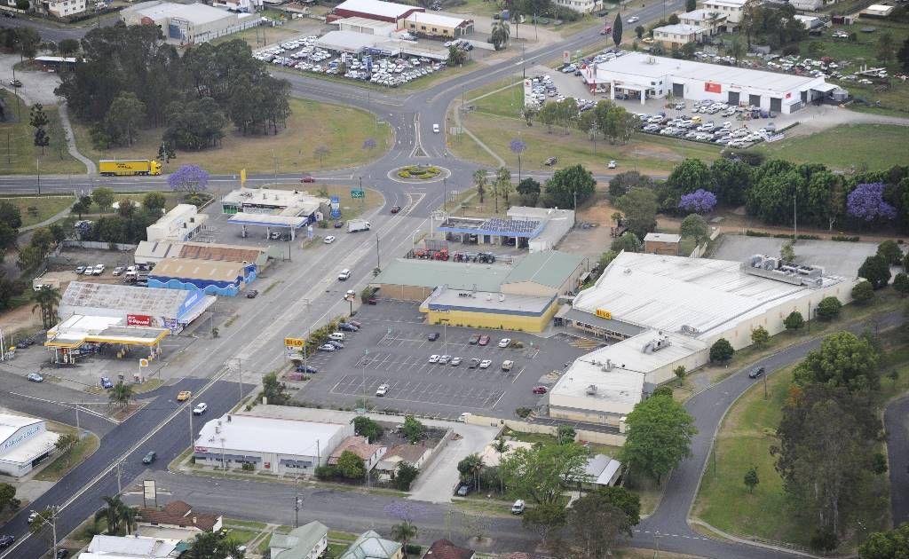 Aerial view of South Grafton at Jacaranda time - BiLo complex South Grafton. Photo: JoJo Newby / The Daily Examiner